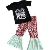 Fashion Popular New Arrival Letter Baby Clothes Leopard Print Children Boutique Clothing