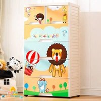 Baby Cupboard Cabinet Plastic Kid Wardrobe Cloth Bedroom Clothing Keyway Storage Drawer