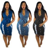 women lady fashion sleeveless scratched jeans denim dress