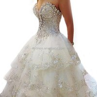 LL004 Free Custom Luxury Ivory Rhinestone Beaded Appliques Sweetheart Ball Gown Tiered Chapel Train Crystal Wedding Dress