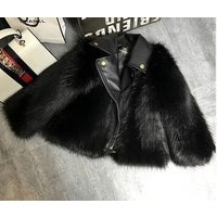 Top fashion girls motorbike clothing faux fox fur jacket with leather collar