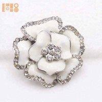 hot sell bulk cheap white flower pearl rhinestone napkin rings for wedding decoration