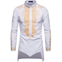 Middle-east Bronzing Printing Pattern Long Sleeve Style Mens dress Shirt
