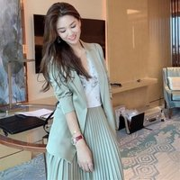 Two Pieces Ladies Office Lady Long Sleeves Ribbon Half Pleated Women Formal Lace Ruched Dress OL Blazer and Skirt Suit