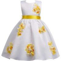new fashion European kids wear bow girdle satin fabric flower girl dress simple evening birthday party wedding girl frock dress