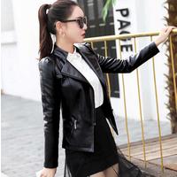 'Women Motorcycle Genuine Leather Black Jacket Ladies