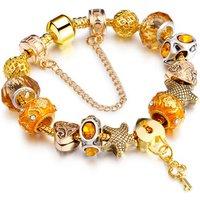 Women Lady Gold Plated Rhinestone European Crystal Heart Lock Key Charm Beads Bracelet