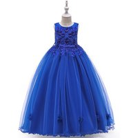 Hot Sale Kids Lace Sleeveless Ball Gown Flower Girls Dress With Beading For Wedding