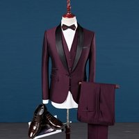 Mens Elegant Jacquard 3 Piece Suit Slim Fit Royal Red Tuxedo