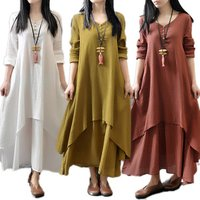 2017 New Fashion Women girl Casual Loose Long Sleeve Boho Plus Size Solid Color Maxi Cotton Linen Dress