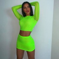 Neon Green Mesh Sexy Two Piece Set Skirt and Crop Top Women 2 Piece Summer Matching Sets Club Outfits
