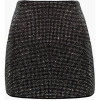 Ladies High Waist Slim Fit Rhinestones crystals beading bling cotton party evening prom sexy women stretchy Skirt