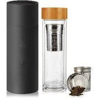 Bamboo Tea Tumbler  Glass Water Bottle With Infuser 14OZ