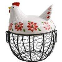 Creative Egg Basket Chicken Wire Hen Egg Holder Fruit Basket Collection Ceramic Decoration Kitchen Storage