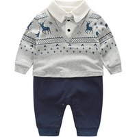 New Fashion Cotton Long Sleeve Tie Gentleman For Baby Boy Party Rompers Infant Jumpsuits Clothing