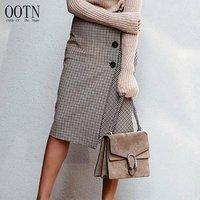 OOTN 2019 Autumn Winter Ladies Slim Vintage Midi Skirt, High Waist Asymmetry Button Wrap Long Skirts, Khaki Plaid Women Skirt