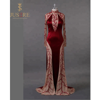 On sale trumpet illusion long sleeves high neck evening dress with heavy hand beaded evening dress
