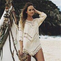 2019 Bikini Cover Up Beach Dresses Women Lace Knitting Summer Bathing Suit Crochet Dress Swimwear