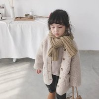 Girls Winter Lambswool Coat Long Style Button Down Pockets Wool Cardigan