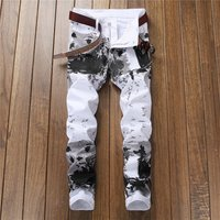 Mens Fashion Print Jeans Skinny Slim Fit Zipper Denim Pant Destroyed Frayed Trousers Denim Pants Y11045