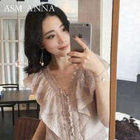 ASM ANNA summer lace embroidery fly sleeve v collar women blouse tops for women