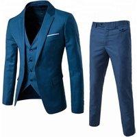 Business blazer for men 2018 western style plus size S-6XL 3 pieces coat pant men wedding suit