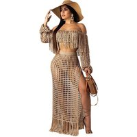 Sexy Women Off The Shoulder Long Sleeve Tassel 2 Pieces Outfits Bikini Beach Cover Up