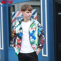 2019 Fashion personality cartoon figure jacket sublimation custom waterproof fabric for  Mens jacket