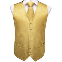 Formal Paisley Yellow Vests Mens Waistcoat and Tie Set for Wedding