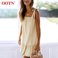OOTN Loose Ruffle Lace Up Sundress Beach Sleeveless Khaki Linen Mini Dresses Ladies Casual Spaghetti Strap Women Dress Summer