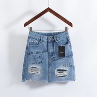Sexy ladies short mini skirts women clothing online embroidered ripped jean skirt