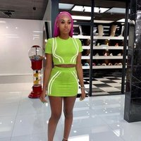 2 piece sets women reflective strips Party short sleeves t shirt and Night Club mini skirt Dress