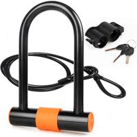 INBIKE bike wheel lock Heavy Duty bike u lock with Steel Chain Cable  Mount Bracket+ Keys