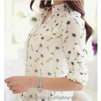 Latest woman design shirts ladies new fashion chiffon blouse