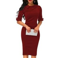 2018 Hot Sale Office Lady Pencil Formal Dress Summer Short Sleeve Bodycon Women Business Clothing