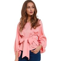 Latest Design Chiffon Wrap Blouse Women Shirts 2018 Fashion With Bow Belt Loose Casual Tops Womens Clothing