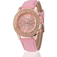 2019 Luxury China Movt Quartz Watch Stainless Steel Back PU Strap Stone Case Lady Wrist Watch