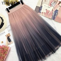 YSMARKET Long Tulle Skirt Women Summer New Gradient Korean Elegant High Waist A-line Pleated Sun School Midi Skirt Female