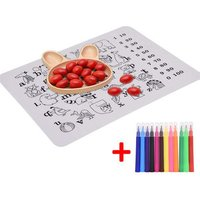 Innovative Silicone Non-slip Graffiti Coloring Placemat BPA-Free Dining Table Insulated Pad
