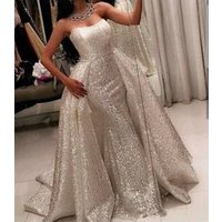 ZH3019G Bling Ball Gown Prom Dresses with Sweetheart Neckline Sweep Train Glitter Glued Lace Detachable Overskirt Evening Gowns