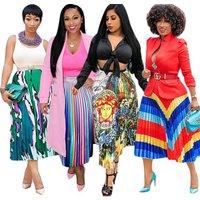 2019 Summer Fashion Printed flower stripe Long pleated skirts Womens High Waist Womens trendy Style Maxi Skirt