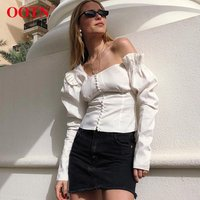 OOTN Female Ruffle Autumn Tunic Blouse, Chemise One Shoulder Tops, Women Black Puff Sleeve Shirts Tops Asymmetrical White Blouse