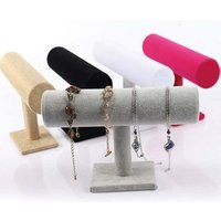 Wood Velvet Expositores Fashion Jewelry Display Stand Holder for Bracelets Bangle Watch Chains Hanging T bar Rack