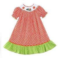 Wholesale Baby Girls Dress Clothes Short Sleeve Pumpkin Smock Girls Halloween Dress