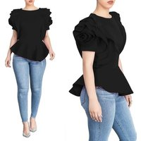 Summer clothing women ruffle short sleeve tunic ladies tops and blouses