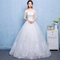 2019 Vestidos De Novia hemline off shoulder illusion sleeves vestiti da sposa wedding dress bridal ball gown