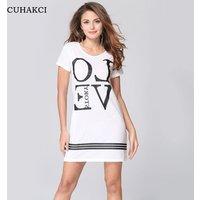 Women Cotton Round Neck Loose T Shirt Dress Monogram Pattern Short Sleeve Streetwear Casual Letter  T-Shirt Dresses