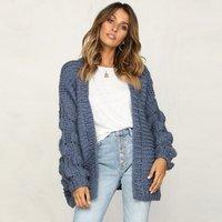 Nice Popular fashion lady Handwork knit cardigan Puff Sleeve Knitted Women Cashmere Cardigan Sweater
