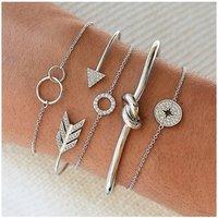 Bohemia 5pcs Arrow Knot Circle Bracelet Bangle New Vintage Women Gold Jewelry Multilayer Cuff Bracelet Set (KB8157)