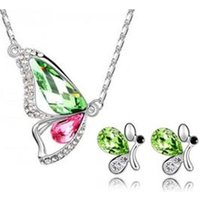 Korean fashion jewelry Butterfly Butterfly Crystal Necklace Stud Set